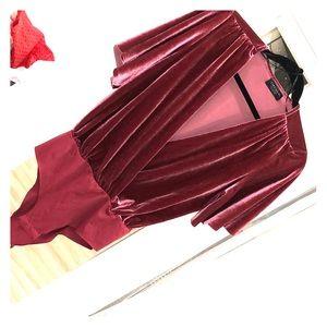 ZARA Burgundy velvet bodysuit